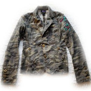 Embroidered Camouflage Print Structured Jacket